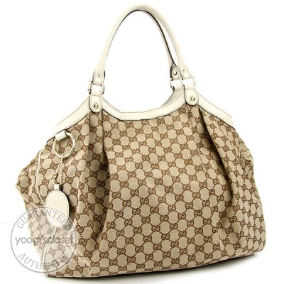 Gucci Beige/White GG Fabric Large Sukey Tote Bag