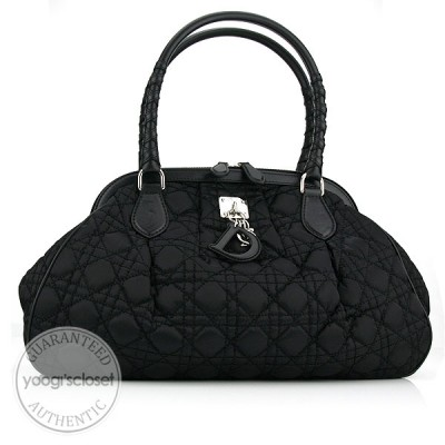 Christian Dior Black Charming Cannage Quilted Satin Doctor's Tote Bag