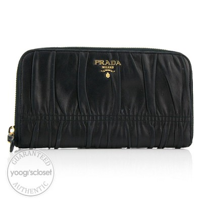 Prada Black Nappa Leather Gauffre Long Zippy Wallet