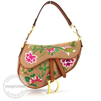 Christian Dior Limited Edition Tan Satin Embroidered Floral Saddle Bag