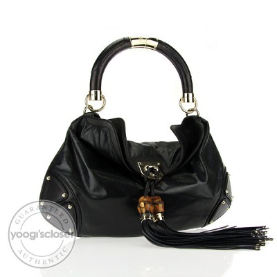 Gucci Black Leather Small Indy Babouska Bag