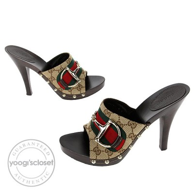 Gucci Beige/Ebony GG Fabric Horsebit Open Toe Slide Heels Size 9