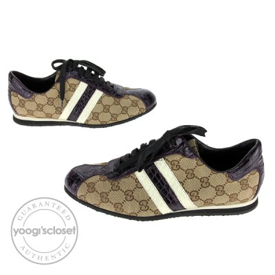 Gucci Beige/Ebony GG w/Croc-Embossed Trim Lace-up Sneakers  Size 8