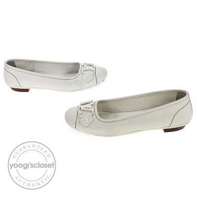 Louis Vuitton White Calfskin Leather Monte Carlo Ballerina Flats Size 5
