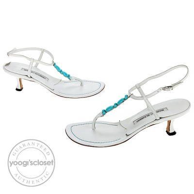 Manolo Blahnik White Leather Dalila Kitten Heel Sandals Size 5.5