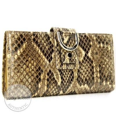 Gucci Tan Python Abbey Long Wallet