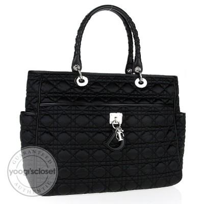 Christian Dior Black Quilted Nylon Charming Cannage Shopper Tote Bag