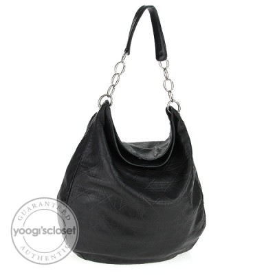 Christian Dior Black Quilted Lambskin Cannage Soft Large Hobo Bag