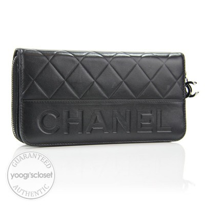 Chanel Black Quilted Leather Zip-Around Long Logo Wallet