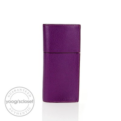 Hermes Violet Chevre Leather Miro Glasses Case