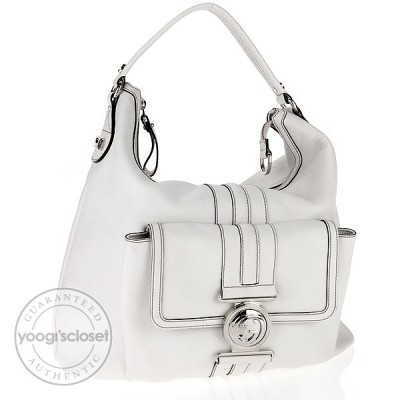 Gucci White Leather G Coin Medium Hobo Bag
