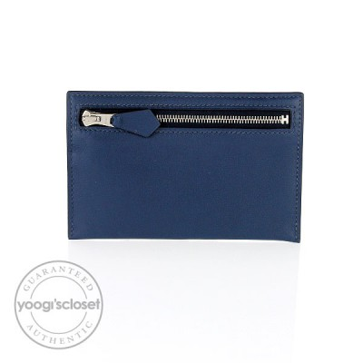 Hermes Bleu de Prusse Swift Leather Zip Zap Key Case