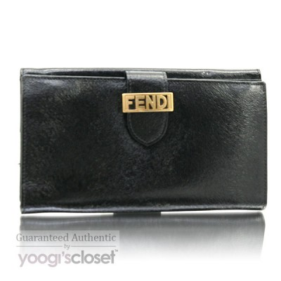 Fendi Black Leather Logo Long Wallet