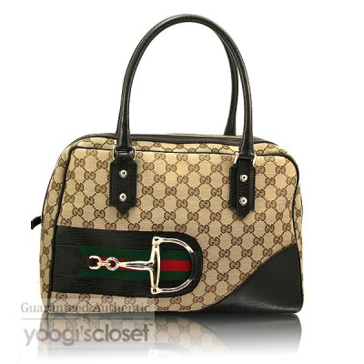 Gucci Beige/Ebony GG Fabric Horsebit Boston Bag