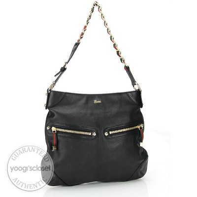 Gucci Black Leather Front Pocket Princy Shoulder Bag