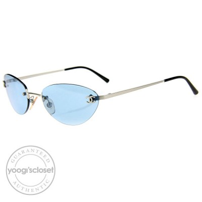 Chanel Blue Tint Rimless Frame Sunglasses- 4003