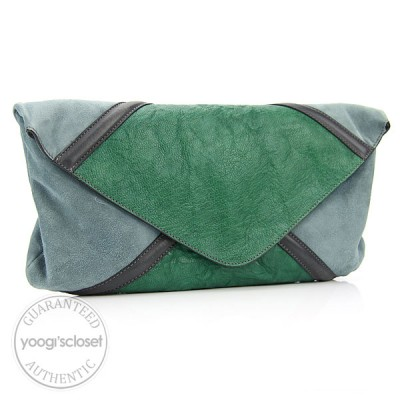 Chloe Green Leather Suede Envelope Clutch Bag