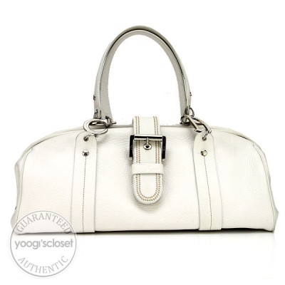 Christian Dior White Leather Day Tote Bag