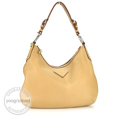 Prada Tan Leather Vitello Daino Shoulder Bag