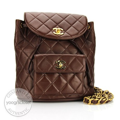 Chanel Brown Quilted Lambskin Backpack Bag