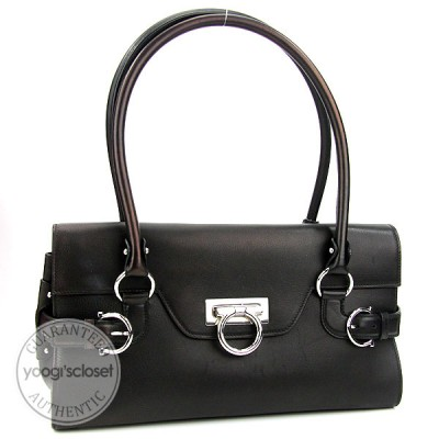 Salvatore Ferragamo Black Calfskin Leather Gina Shoulder Bag