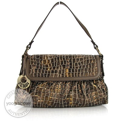 Fendi Metallic Bronze Embossed Canvas Chef Shoulder Bag