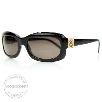 Chanel Black Frame Camellia Flower Crystal CC Logo Sunglasses 5127-B