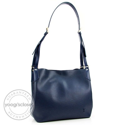 Louis Vuitton Myrtille Blue Epi Mandara MM Bag