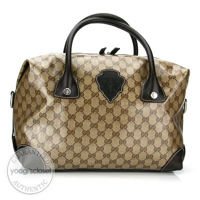 Gucci Beige/Ebony Crystal GG Blazon Boston Bag