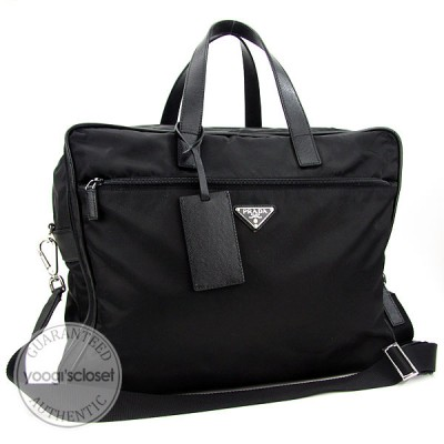 Prada Black Nylon and Leather Carry-on Bag V361S