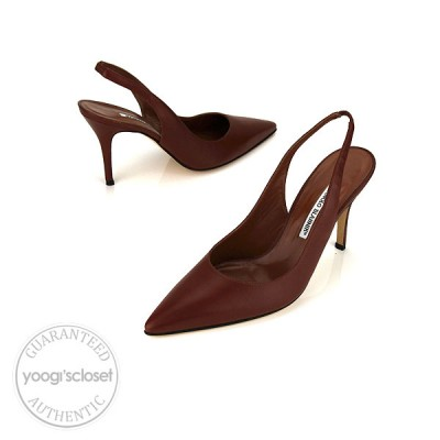 Manolo Blahnik Brown Leather Fisca Slingback Heels size 9.5