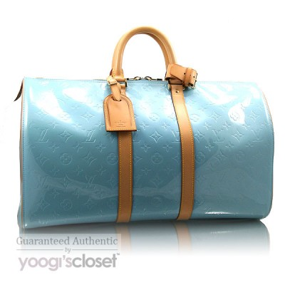 Louis Vuitton Baby Blue Monogram Vernis Mercer Duffel Bag