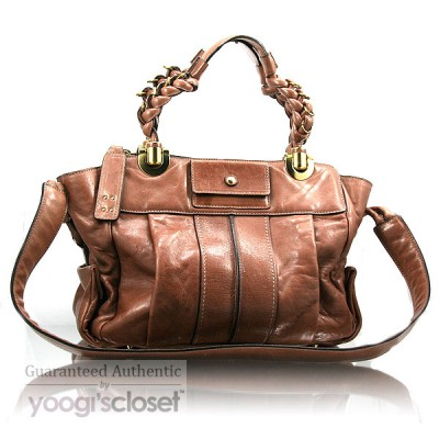 Chloe Brown Leather Heloise East-West Satchel Bag