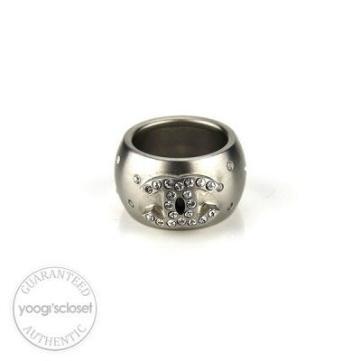 Chanel Brushed Metal Logo Crystals Ring size 6.5