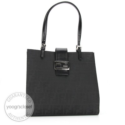 Fendi Black Zucca Print Shoulder Tote Bag