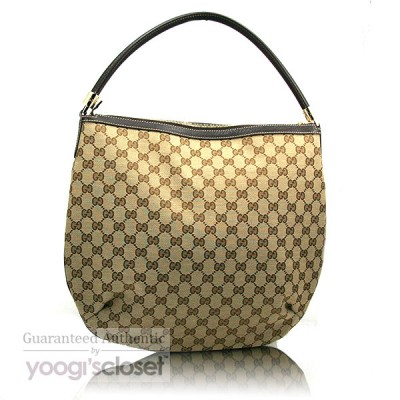 Gucci Beige/Ebony GG Fabric Hobo Bag