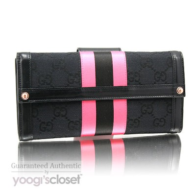 Gucci Black GG Fabric Pink Stripe Long Wallet