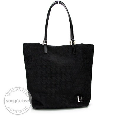 Fendi Black Mini Monogram Canvas Tote Bag