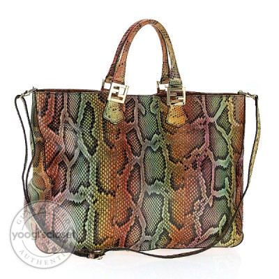 Fendi Multicolor Python Patchwork Tote Bag