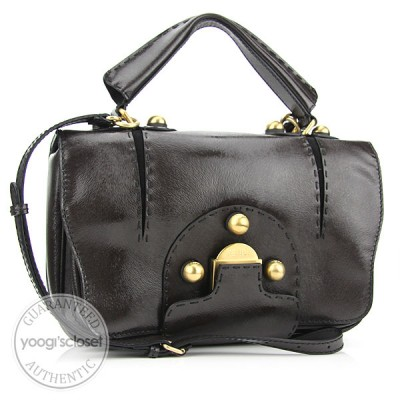 Fendi Dark Brown Patent Leather F3 Secret Code Bag