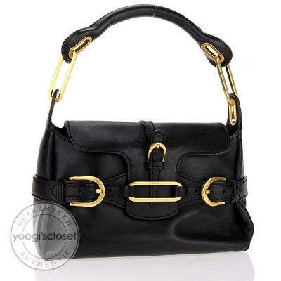 Jimmy Choo Black Leather Tulita Small Flap Hobo Bag