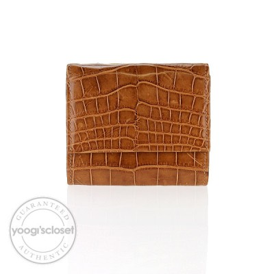 Burberry Cognac Crocodile Compact Wallet