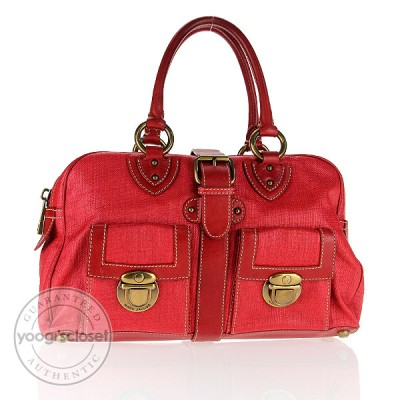 Marc Jacobs Red Coated Canvas Venetia Satchel Bag