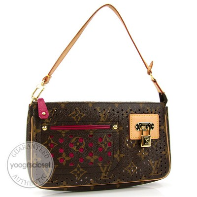 Louis Vuitton Limited Edition Monogram Perforated Fuscia Accessories Pochette Bag