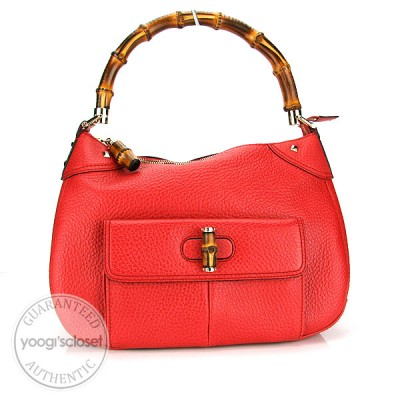 Gucci Coral Leather Top Handle Bamboo Bag