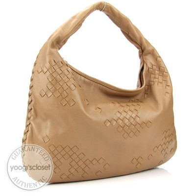 Bottega Veneta Hazelnut Medium Veneta Woven Hobo Bag