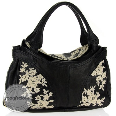 Valentino Garavani Black Leather Urban Lace Satchel Bag