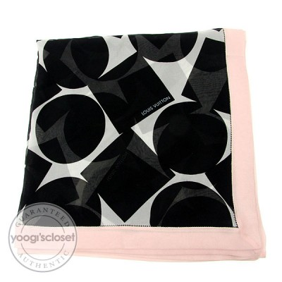 Louis Vuitton Black and Pink Silk Chiffon Bandana Scarf