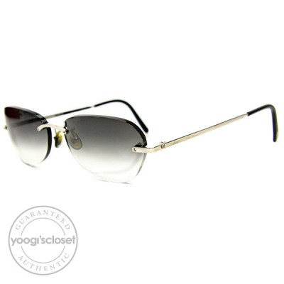 Cartier Dark Grey Gradient Lenses Rimless Frame Sunglasses 135