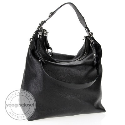 Gucci Black Leather Horsebit Large Hobo Bag